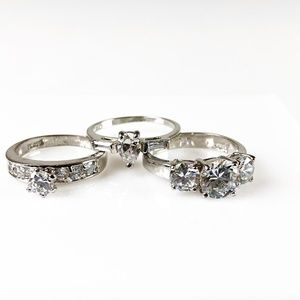 Jewelry - Set of 3 Cubic Zirconia 18K White Gold HGE Rings 9